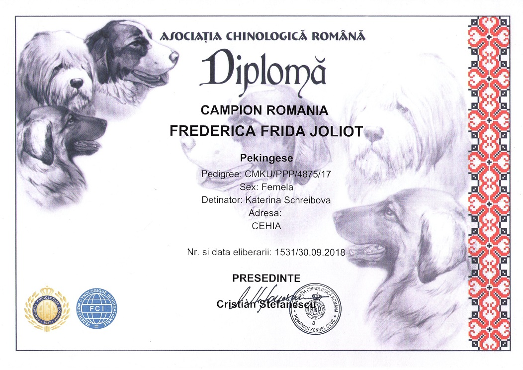 Champion of Romanie - Frederica Frida Joliot